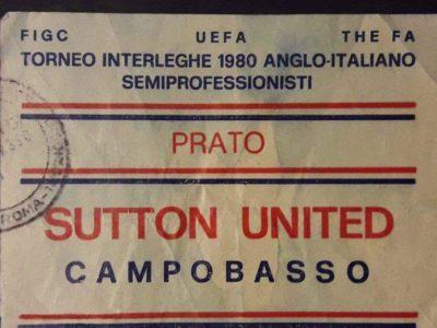 biglietto sutton campobasso torneo uefa interleghe 1982