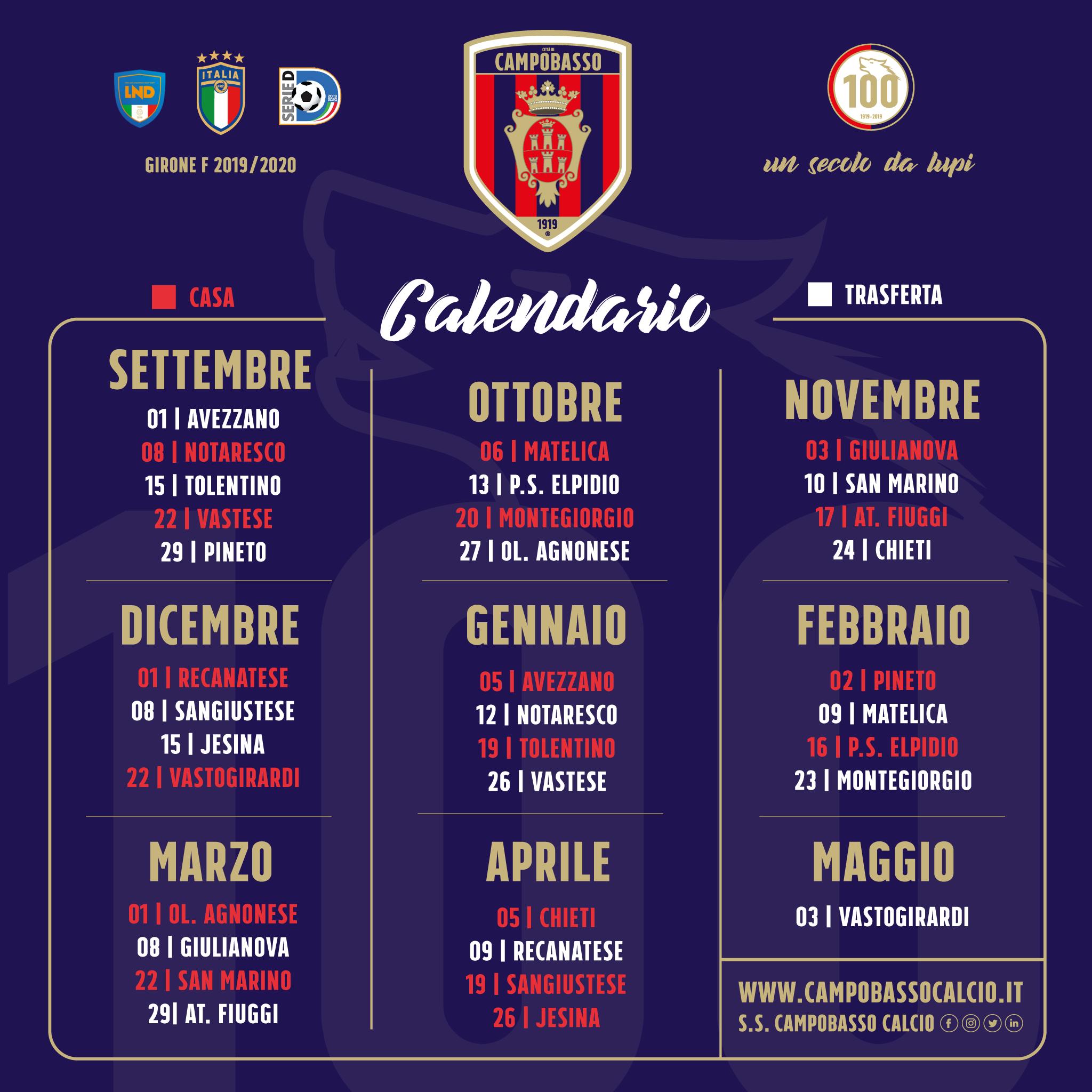 Calendario Serie A 16 Ottobre.S S Citta Di Campobasso Calendario Stagione 2019 2020
